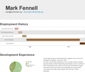 Bootstrap Resume With Google Charts API Posted on GitHub
