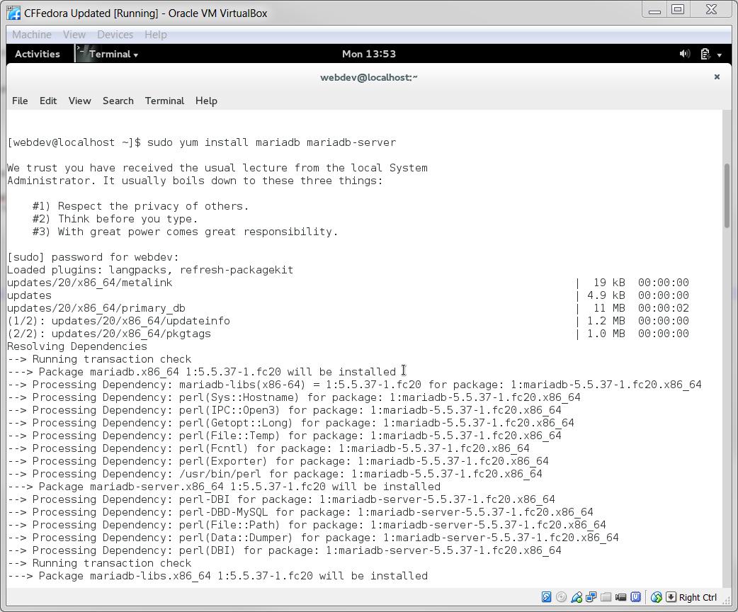 Part 2: MariaDB on Fedora 20 on a Windows Host with