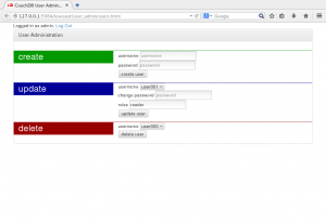 Screenshot of CouchDB User Admin app